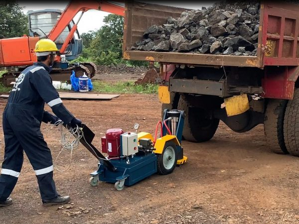 lifting jack in use on construction site